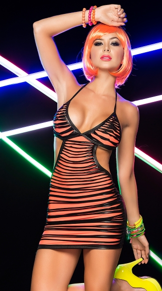 Shredded Vinyl Mini Dress, Shredded Neon Mini Dress