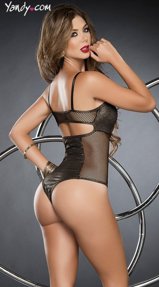 Fishnet and Metallic Thong Teddy