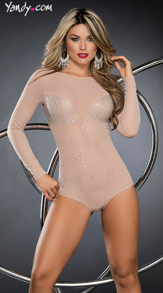 Barely There Nude Sparkly Bodysuit, Sexy Long Sleeve Romper, Cheeky Nude Bodysuit Lingerie