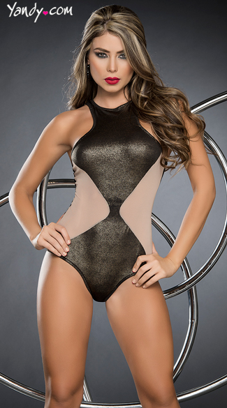 Metallic Babe Bodysuit, Sexy Nude and Metallic Romper, Cheeky Romper Lingerie
