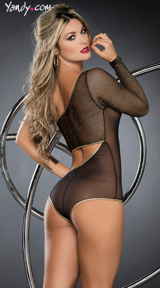 Single Shoulder Mesh Bodysuit
