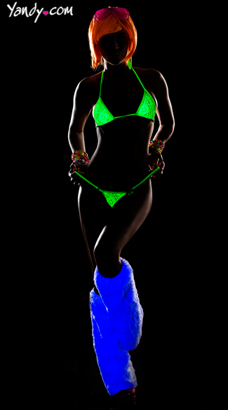 Neon String Triangle Top and Thong Set