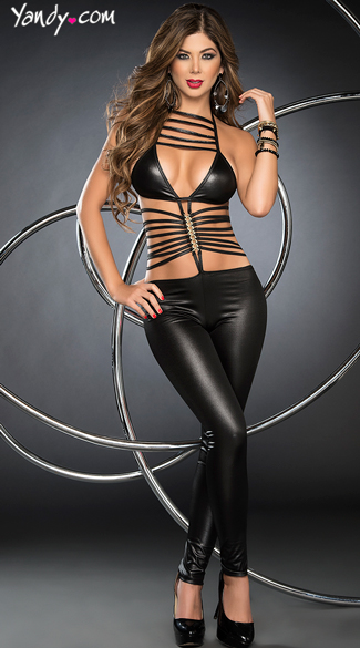 Can\'t Be Tamed Jumpsuit, Sexy Strappy Tight Jumpsuits, Revealing Full Length Bodysuits