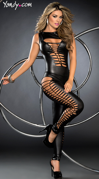 Seductress Faux Leather Jumpsuit, Full Length Strappy Bodysuits, Sexy Curve Hugging One Pieces