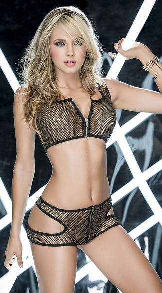 Sporty Fishnet Dance Set, Fishnet Crop Top Set, Fishnet Shorts Set