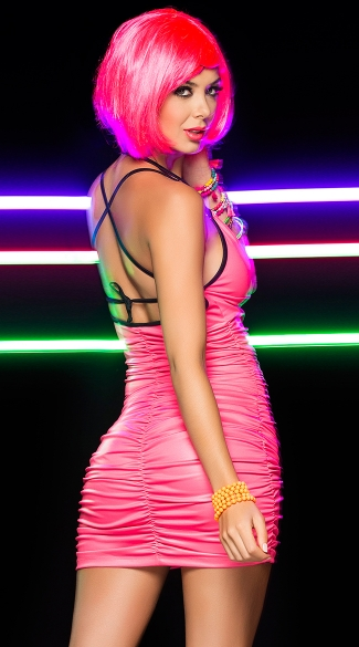 Neon Scrunch Halter Dress, Sexy Neon Club Dress