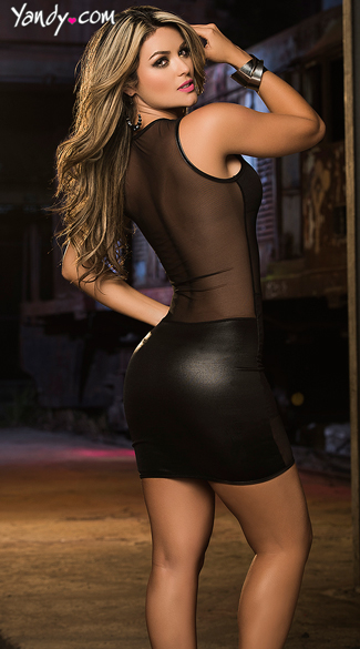 Mesh and Vinyl Mini Dress