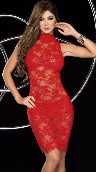 Racy Lacy Sleeveless Dress Set, Sleeveless Lace Dress