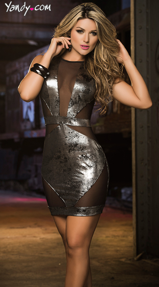 Gorgeous in Gunmetal Metallic Mini Dress, Dark Grey Dress, Mesh Cut Out Dress