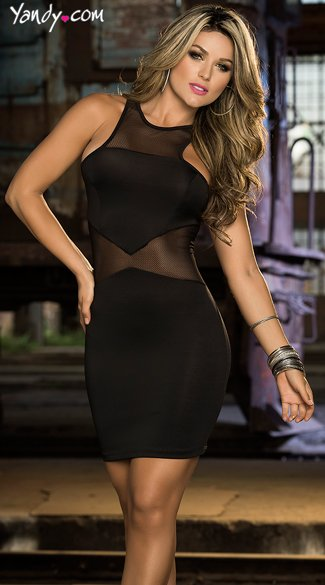 Sheer Seduction Club Dress, Mesh Cut Out Dress, Open Back O Ring Dress