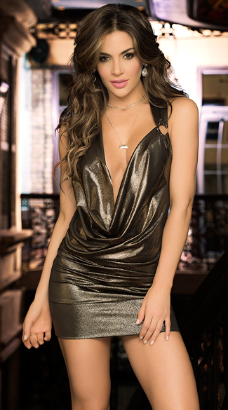 Deep V Metallic Party Dress, V-Neck Party Dress, Metallic Party Dress