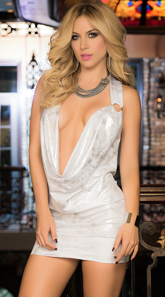 Deep V Metallic Party Dress