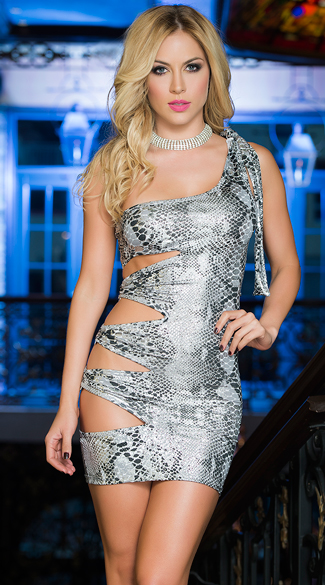 Silver Snakeskin Cutout Dress, Snakeskin Dress, Cutout Dress