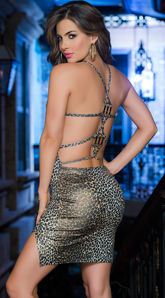 Strappy Leopard Club Dress