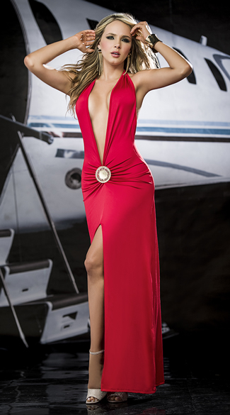 Eye Catching Low Cut Gown High Slit Gown Low Cut Long Gown