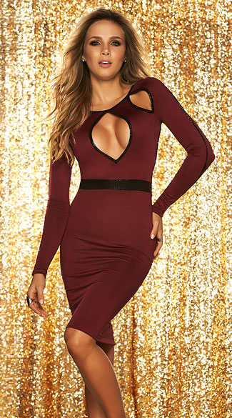 Cut-Out Burgundy Dress, Open Back Dress, Long Sleeve Burgundy Dress