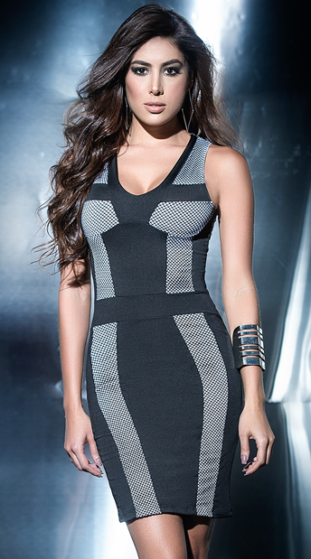 Black and White Netted Dress, black and white dress - Yandy.com