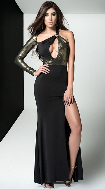 Metallic Diva Gown Black And Gold Gown Yandy Com