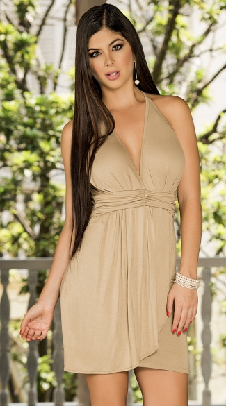 Front Drape Halter Summer Dress, Sexy Halter Summer Dress with Drape Front, Empire Waist Summer Halter Dress