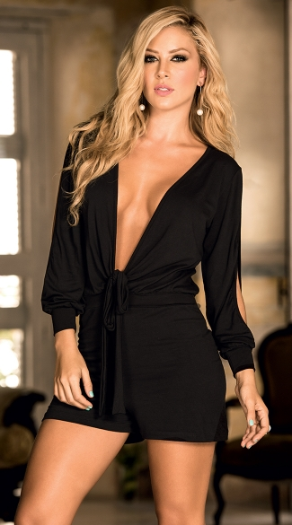 Long Sleeve Sexy Plunge Romper Jumpsuits And Rompers