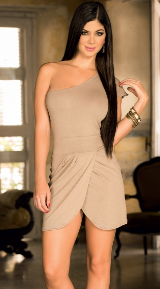 Single-Shouldered Dress with Wrap Skirt