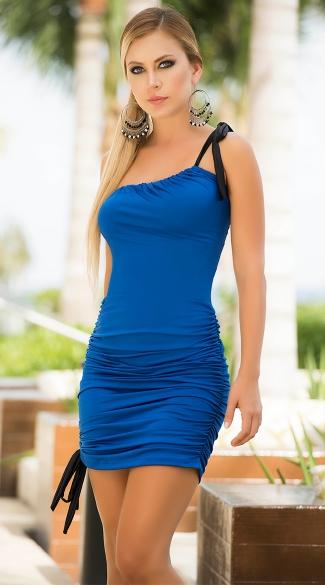 Single Shouldered Drawstring Dress Ruched Evening Dress