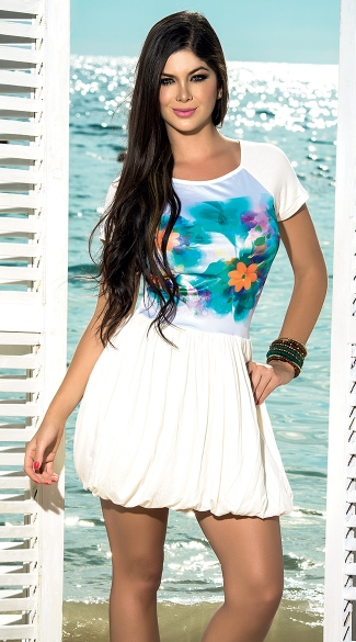 Tropical T-Shirt Dress with Sexy Back Cutout