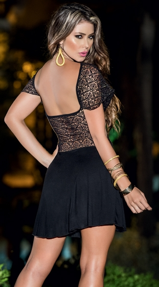 Sexy Sheer Dress With Bandeau Top And Flounce Skirt