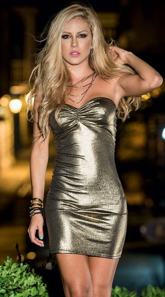 Sexy Metallic Gold Bandeau Dress, Sexy Clubbing Dresses, Short Evening Dresses