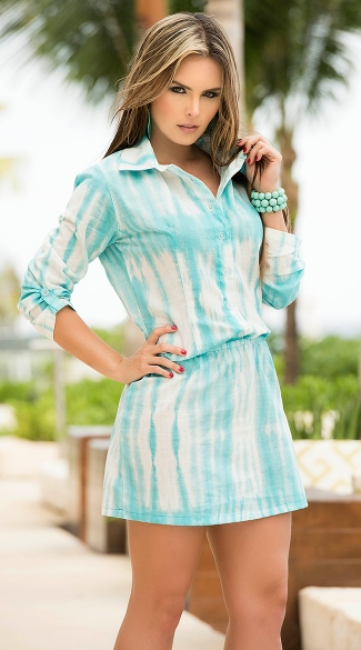 Tie-Dye Shirt Dress, Blue Summer Comfy Dresses, Elastic Waist Dresses