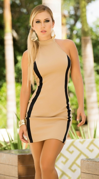 Foxy Mocha Halterneck Dress, Bodycon Tie-Back Dresses, Sexy Beige Club Dresses