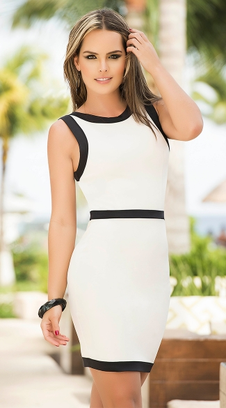 White and Black Trim Dress, Sexy Classic Dresses, Form Fitting Open Back Dresses
