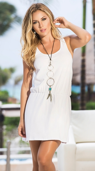 Strappy Back Summer Dress. Sexy Elastic Waist Dresses, Simple Sun Dresses