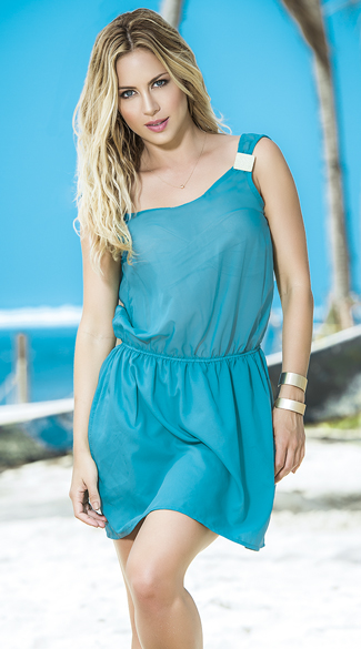 Embellished Turquoise Summer Dress, Breezy Turquoise Dress, Lightweight Summer Dress