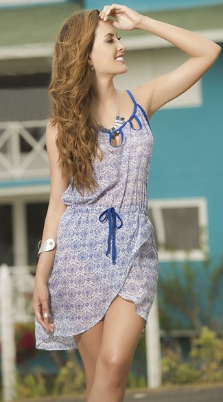Blue and White Wrap Sundress