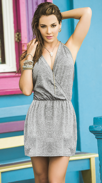 Gorgeous Grey Wrap Dress, Wrap Dress, Halter Dress