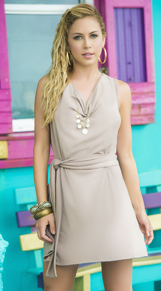 Mocha Cowl Neck Summer Dress