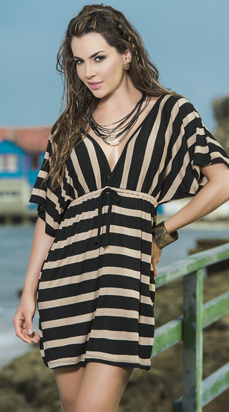 Striped Flowing Summer Dress, Striped Cover-Up, Striped Sundress