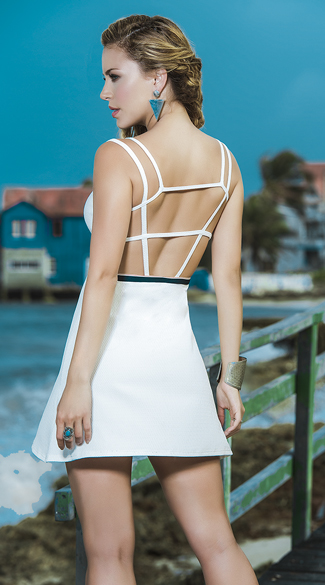 Strappy Ivory Dress with Blue Belt