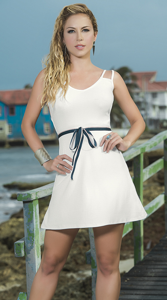 Strappy Ivory Dress with Blue Belt, Ivory Mini Dress, Ivory Belted Dress