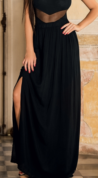 High Waist Maxi Skirt With Side Slit