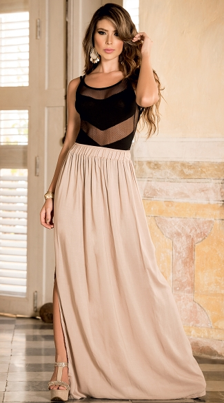 Waist Maxi Skirt With Side Slit, Cheap Long Skirts, Casual Skirts ...