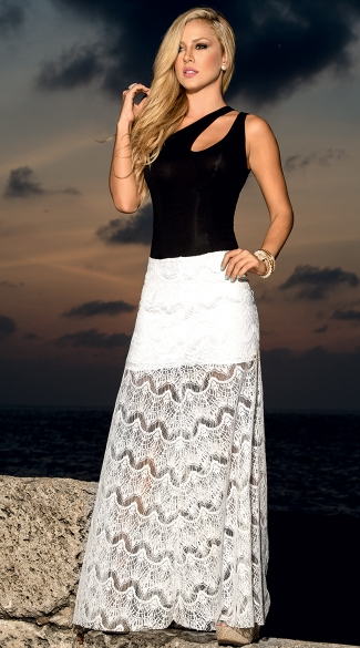 Lace Maxi With Opaque Mini Underskirt, Long Flowy Skirts, Summer Skirts