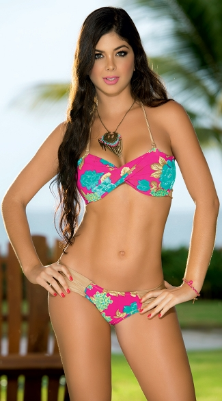 Hawaiian Print Twist Top Bikini, Sexy Twist Top Swimsuit