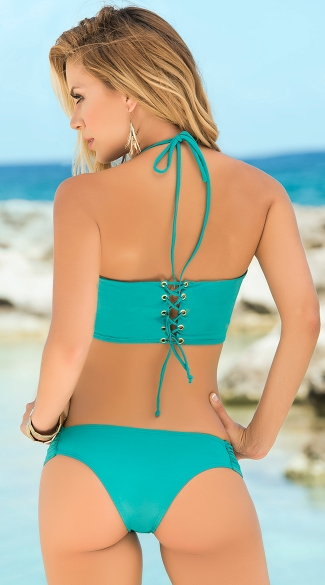 Two Piece Corset Back Swimsuit