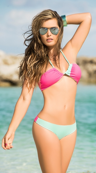 Pink and Turquoise Two Piece Swimsuit