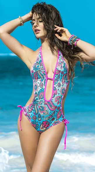 Hot Pink and Blue Paisley Monokini
