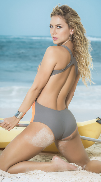 Grey Summer Glow One Piece Swimsuit