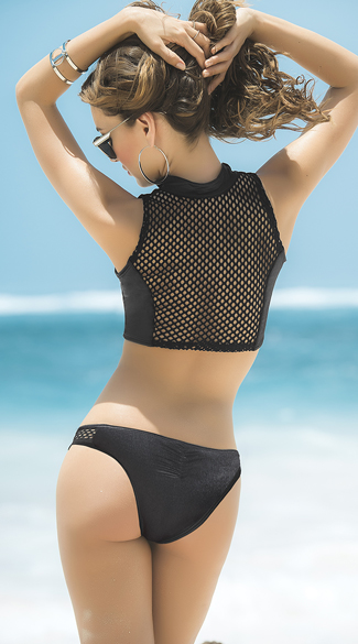Cropped Wet-Look and Fishnet Bikini