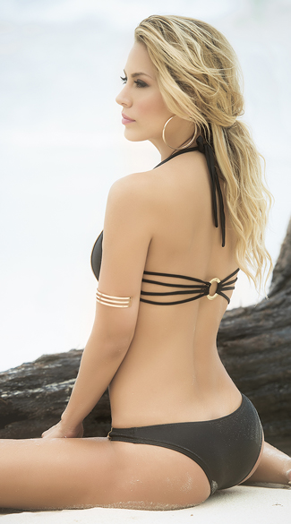 Multi-Strapped Black and Gold Bikini
